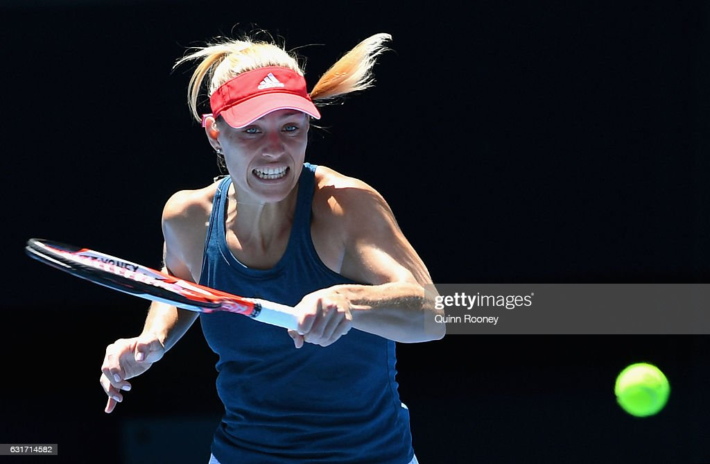 Angelique Kerber of Germany plays a forehand during a practice session ahead of the 2017 Australian Open at Melbourne Park on January 15, 2017 in Melbourne, Australia.