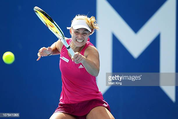Angelique Kerber of Germany plays a forehand during her 1st round match against Kimiko DateKrumm of Japan during day one of the Moorilla Hobart...