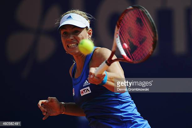 Angelique Kerber of Germany plays a forehand during her match against AnnaLena Friedsam of Germany during Day 5 of the Nuernberger Versicherungscup...