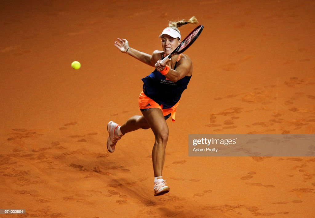 Angelique Kerber of Germany plays a forehand during her match against Kristina Mladenovic of France during the Porsche Tennis Grand Prix at Porsche Arena on April 27, 2017 in Stuttgart, Germany.