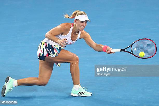 Angelique Kerber of Germany plays a forehand during her quarter final match against Elina Svitolina of the Ukraine during day five of the 2017...