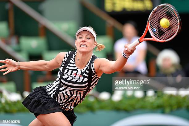 Angelique Kerber of Germany plays a forehand during her women's single first round match against Kiki Bertens of the Netherlands at Roland Garros on...