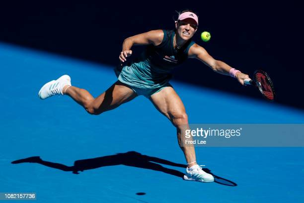 Angelique Kerber of Germany plays a forehand in her first round match against Polona Hercog of Slovenia during day one of the 2019 Australian Open at...