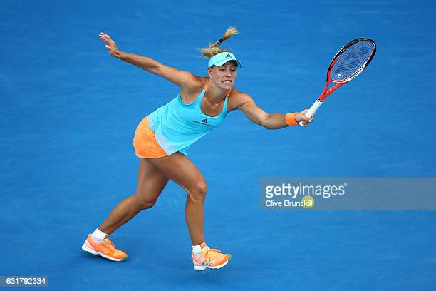 Angelique Kerber of Germany plays a forehand in her first round match against Lesia Tsurenko of the Ukraine on day one of the 2017 Australian Open at...