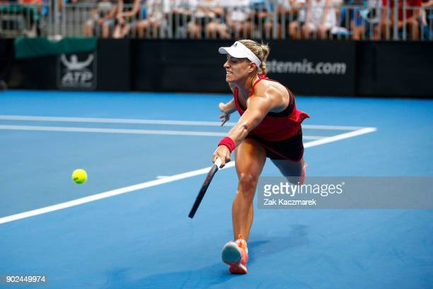 Angelique Kerber of Germany plays a forehand in her first round match against Lucie Safarova of Czech Republic during day two of the 2018 Sydney...