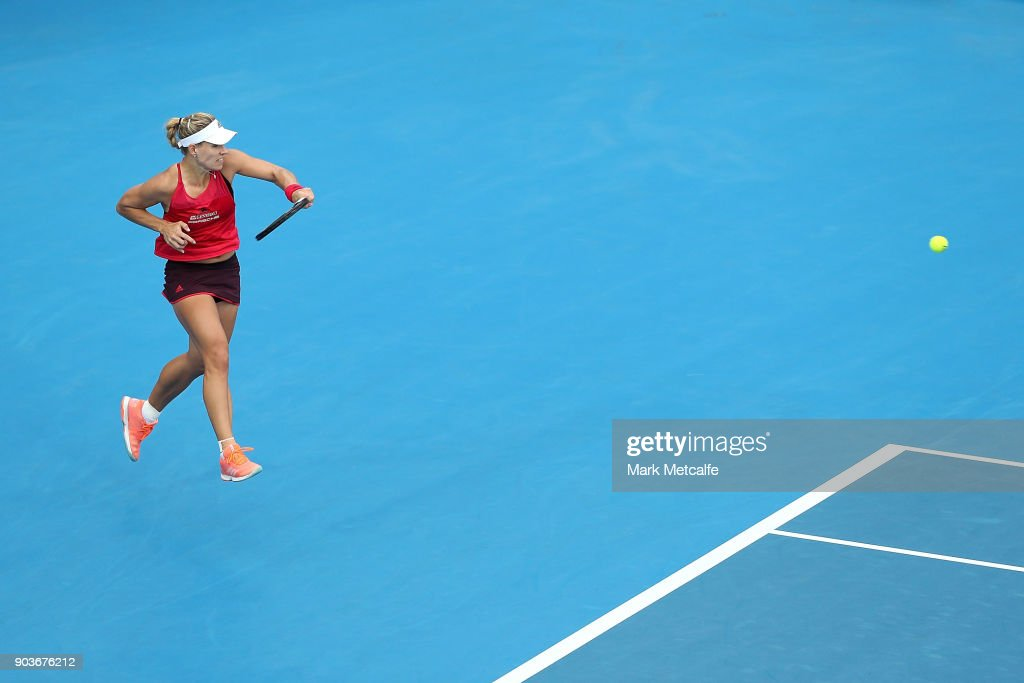 Angelique Kerber of Germany plays a forehand in her quarter final match against Dominika Cibulkova of Slovakia during day five of the 2018 Sydney International at Sydney Olympic Park Tennis Centre on January 11, 2018 in Sydney, Australia.