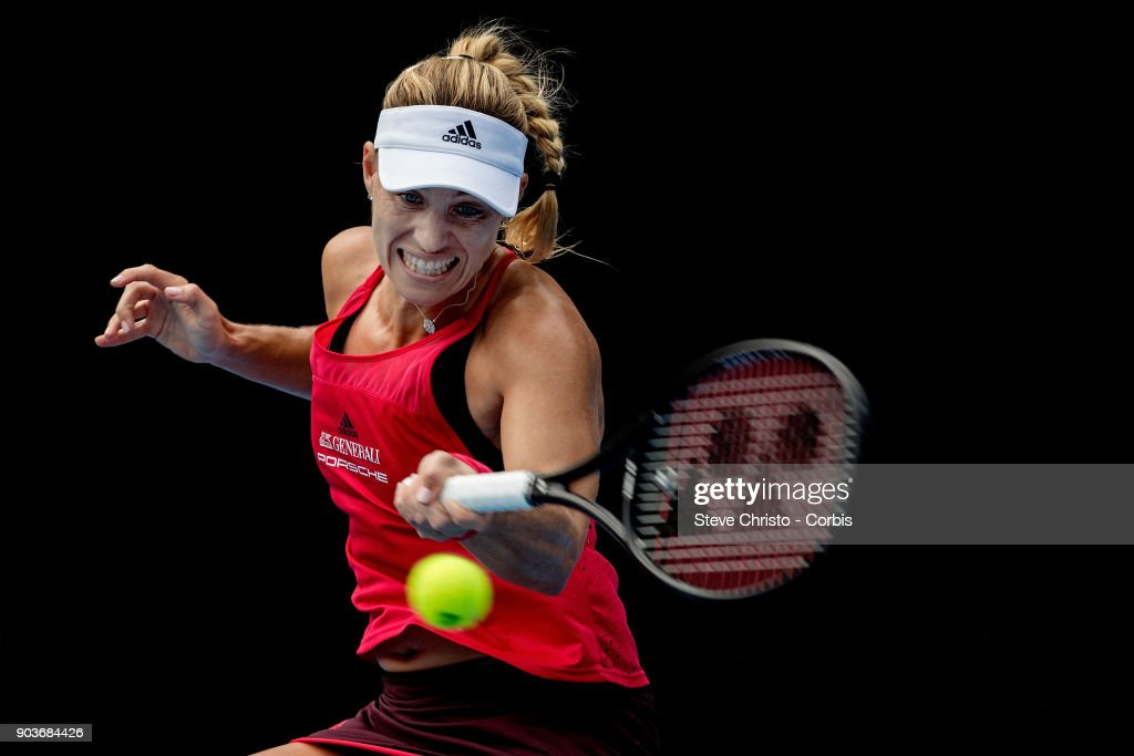 Angelique Kerber of Germany plays a forehand in her quarterfinal match against Dominika Cibulkova of Slovakia during day five of the 2018 Sydney International at Sydney Olympic Park Tennis Centre on January 11, 2018 in Sydney, Australia.