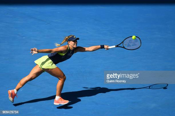 Angelique Kerber of Germany plays a forehand in her quarterfinal match against Madison Keys of the United States on day 10 of the 2018 Australian...
