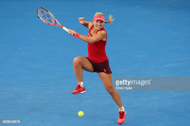 Angelique Kerber of Germany plays a forehand in her semi final match against Carla Suarez Navaro of Spain during day six of the 2016 Brisbane...