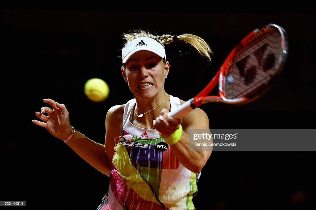Angelique Kerber of Germany plays a forehand in her semi final match against Petra Kvitova of Czech Republic during Day 6 of the Porsche Tennis Grand Prix at Porsche-Arena on April 23, 2016 in Stuttgart, Germany.