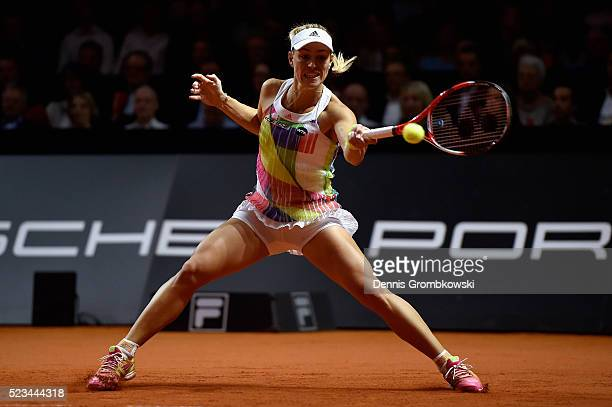 Angelique Kerber of Germany plays a forehand in her semi final match against Petra Kvitova of Czech Republic during Day 6 of the Porsche Tennis Grand...