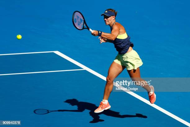 Angelique Kerber of Germany plays a forehand in her semifinal match against Simona Halep of Romania on day 11 of the 2018 Australian Open at...