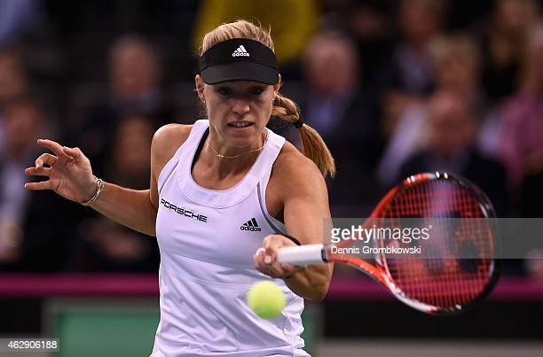 Angelique Kerber of Germany plays a forehand in her single match against during the Fed Cup 2015 World Group First Round tennis between Germany and...