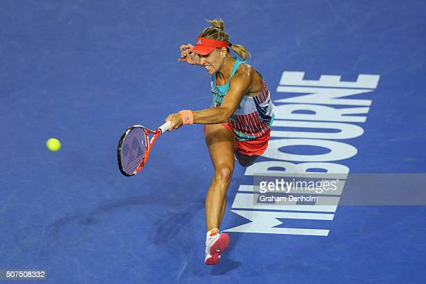 Angelique Kerber of Germany plays a forehand in her Women's Singles Final match against Serena Williams of the United States during day 13 of the...
