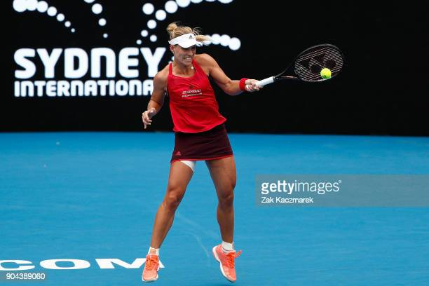 Angelique Kerber of Germany plays a forehand in her Women's Singles Final match against Ashleigh Barty of Australia during day seven of the 2018...