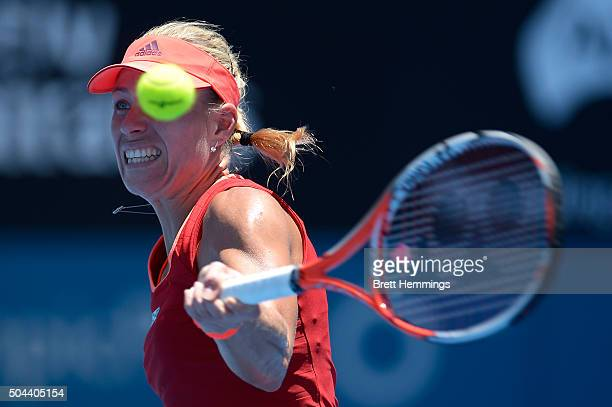 Angelique Kerber of Germany plays a forehand shot during day two of the 2016 Sydney International at Sydney Olympic Park Tennis Centre on January 11...