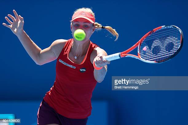 Angelique Kerber of Germany plays a forehand shot in her semi final match against Elina Svitolina of Ukraine during day two of the 2016 Sydney...