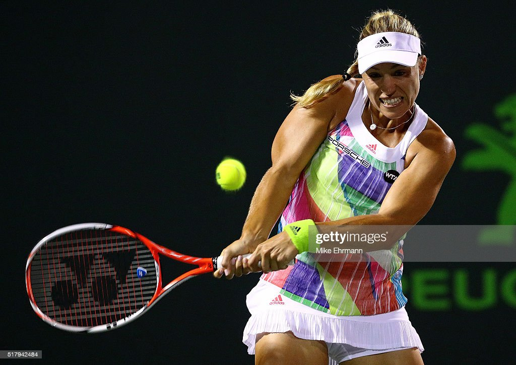 Angelique Kerber of Germany plays a match against Timea Babos of Hungary during Day 8 of the Miami Open presented by Itau at Crandon Park Tennis Center on March 28, 2016 in Key Biscayne, Florida.