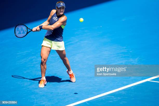 Angelique Kerber of Germany plays a shot in her Quarterfinals match during the 2018 Australian Open on January 24 at Melbourne Park Tennis Centre in...