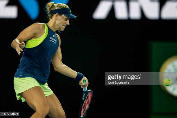 Angelique Kerber of Germany plays a shot in her third round match during the 2018 Australian Open on January 20 at Melbourne Park Tennis Centre in...
