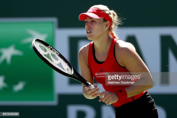 Angelique Kerber of Germany plays Daria Kasatkina of Russia during the quarterfinals of the BNP Paribas Open at the Indian Wells Tennis Garden on...