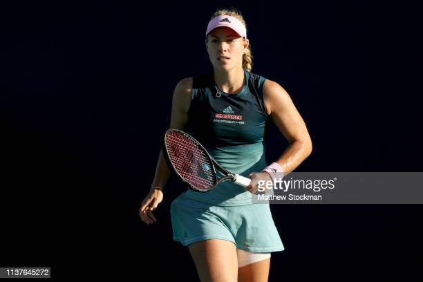 Angelique Kerber of Germany plays Karolina Muchova of Czech Republic during the Miami Open Presented by Itau at Hard Rock Stadium March 22 2019 in...