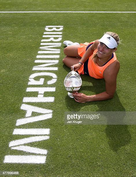 Angelique Kerber of Germany poses after victory in her singles final match against Karolina Pliskova of Czech Republic on day seven of the Aegon...