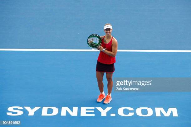 Angelique Kerber of Germany poses after winning the Sydney International Women's Singles FInal against Ashleigh Barty of Australia during day seven...