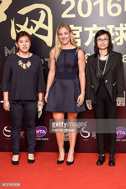 Angelique Kerber of Germany poses with fans at the 2016 China Open Player Party at The Birds Nest on October 3 2016 in Beijing China