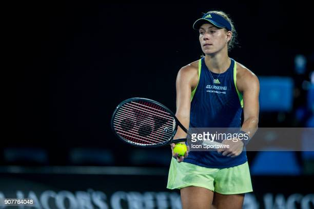 Angelique Kerber of Germany prepares to serves in her third round match during the 2018 Australian Open on January 20 at Melbourne Park Tennis Centre...