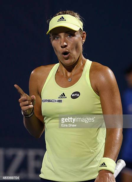 Angelique Kerber of Germany reacts after beating Agnieszka Radwanska of Poland during Day 5 of the Bank of the West Classic at Stanford University...