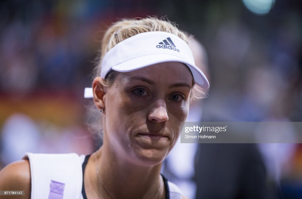 Angelique Kerber of Germany reacts after losing against Elina Svitolina of Ukraine during the FedCup World Group Play-Off match between Germany and Ukraine at Porsche Arena on April 23, 2017 in Stuttgart, Germany.