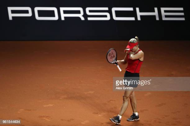 Angelique Kerber of Germany reacts during her match against Anett Kontaveit of Estonia during day 4 of the Porsche Tennis Grand Prix at Porsche-Arena...