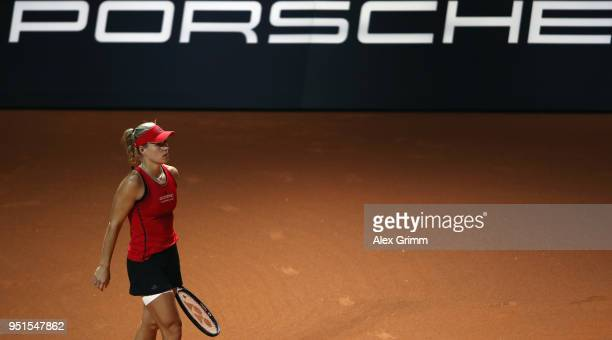 Angelique Kerber of Germany reacts during her match against Anett Kontaveit of Estonia during day 4 of the Porsche Tennis Grand Prix at PorscheArena...