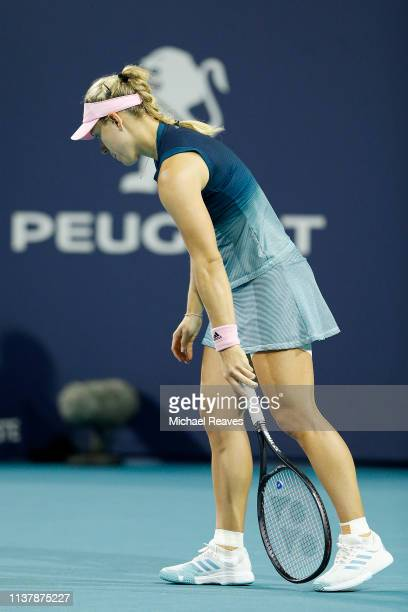 Angelique Kerber of Germany reacts during her match against Bianca Andreescu of Canada during Day 6 of the Miami Open Presented by Itau at Hard Rock...