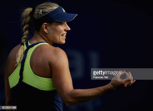 Angelique Kerber of Germany reacts during her quarter final match against Karolina Pliskova of Czech Republic on day four of the WTA Dubai Duty Free...