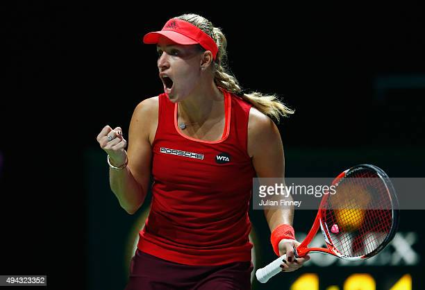 Angelique Kerber of Germany reacts during her round robin match against Petra Kvitova of Czech Republic during the BNP Paribas WTA Finals at...