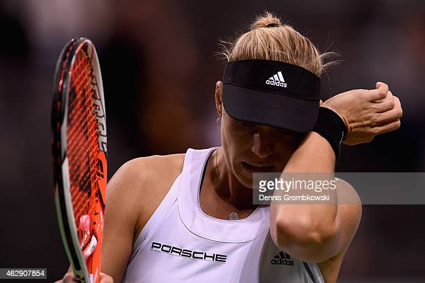 Angelique Kerber of Germany reacts during her single match against during the Fed Cup 2015 World Group First Round tennis between Germany and...