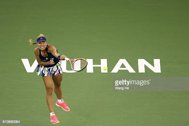 Angelique Kerber of Germany reacts during the match against Petra Kvitova of Czech on Day 4 of 2016 Dongfeng Motor Wuhan Open at Optics Valley...