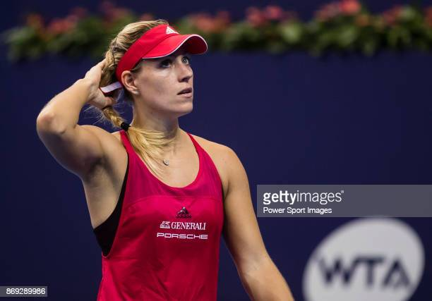 Angelique Kerber of Germany reacts during the singles Round Robin match of the WTA Elite Trophy Zhuhai 2017 against Ashleigh Barty of Australia at...