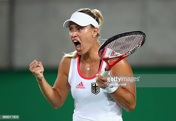 Angelique Kerber of Germany reacts during the Women's Singles Gold Medal Match against Monica Puig of Puerto Rico on Day 8 of the Rio 2016 Olympic...