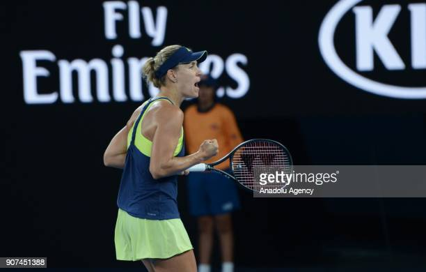Angelique Kerber of Germany reacts during women's singles third round match against Maria Sharapova of Russia within the sixth day of 2018 Australia...