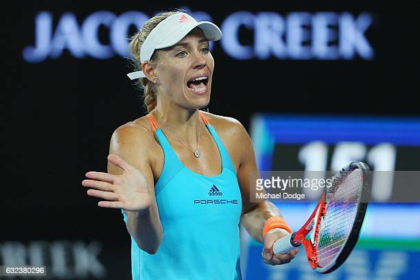 Angelique Kerber of Germany reacts in her fourth round defeat against Coco Vanderweghe of the USA on day seven of the 2017 Australian Open at...