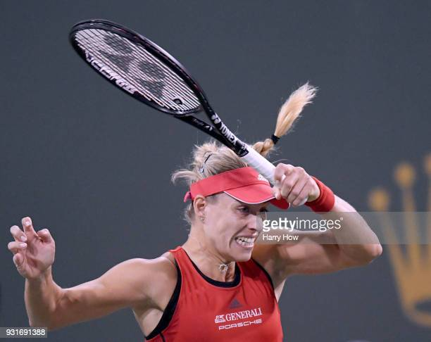 Angelique Kerber of Germany reacts to her forehand in her match against Caroline Garcia of France during the BNP Paribas Open at the Indian Wells...