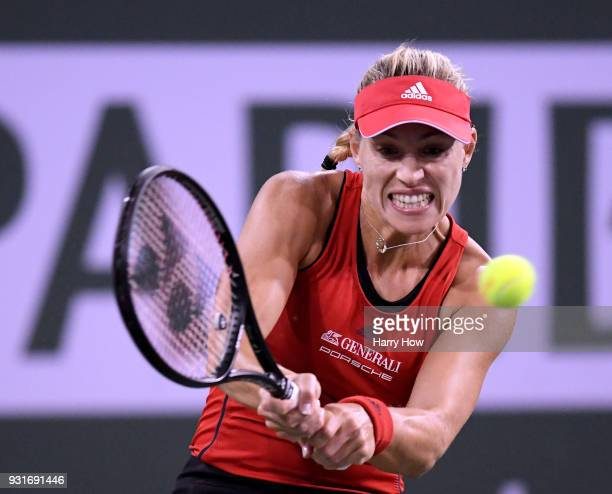 Angelique Kerber of Germany returns a backhand in her match against Caroline Garcia of France during the BNP Paribas Open at the Indian Wells Tennis...