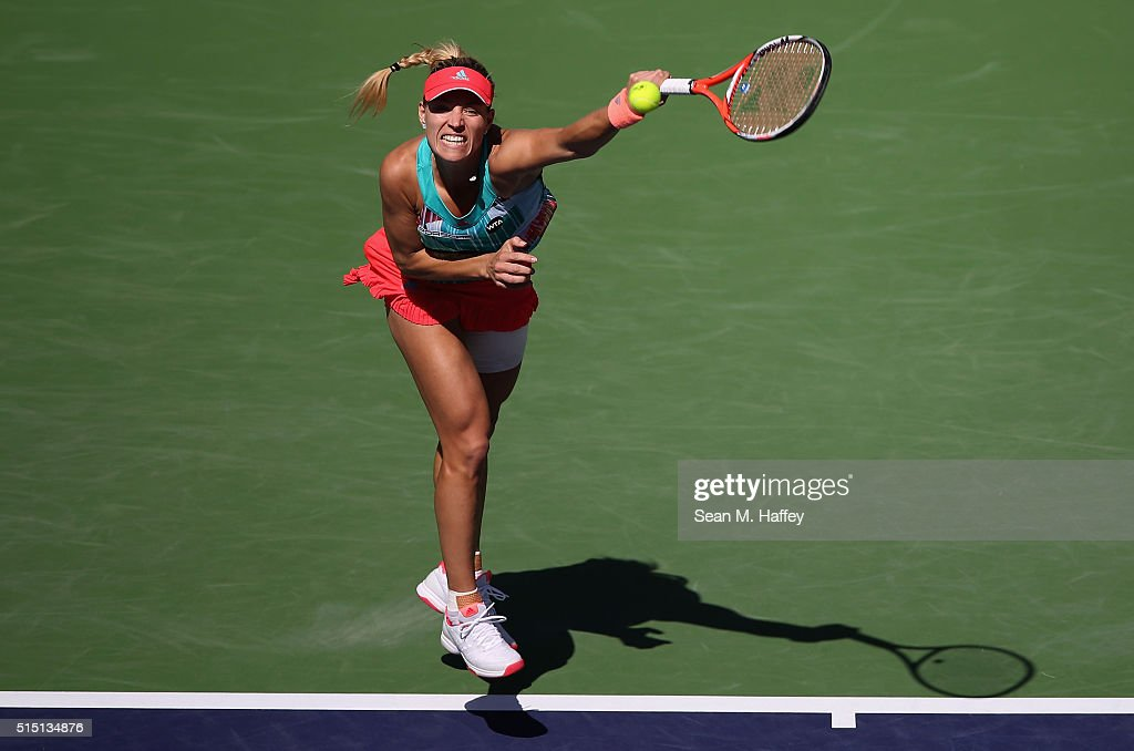 Angelique Kerber of Germany returns a shot against Denisa Allertova of Czech Republic during the BNP Paribas Open at the Indian Wells Tennis Garden on March 11 at Indian Wells Tennis Garden on March 12, 2016 in Indian Wells, California