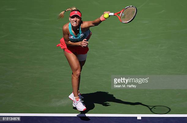 Angelique Kerber of Germany returns a shot against Denisa Allertova of Czech Republic during the BNP Paribas Open at the Indian Wells Tennis Garden...