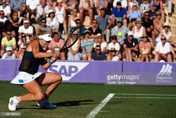 Angelique Kerber of Germany returns a shot in her ladies singles first round match against Ysaline Bonaventure of Belgium during day two of the 2019...
