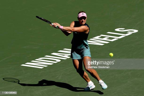 Angelique Kerber of Germany returns a shot to Bianca Andreescu of Canada during the women's final of the BNP Paribas Open at the Indian Wells Tennis...