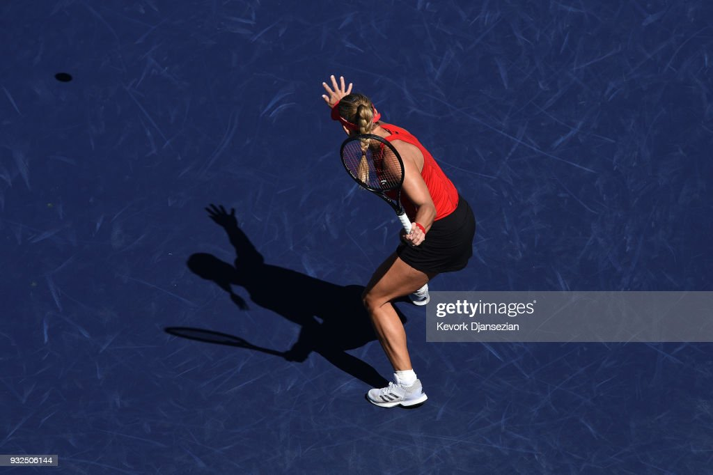 Angelique Kerber of Germany returns against Daria Kasatkina of Russia during Day 9 of BNP Paribas Open on March 15, 2018 in Indian Wells, California.